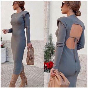 ZARA SHOULDER PAD DRESS